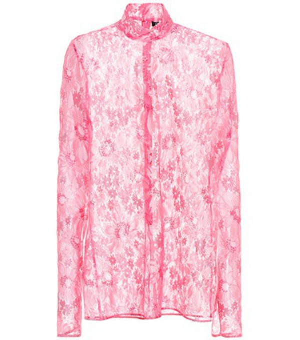 Calvin Klein 205W39NYC Metallic lace top in pink