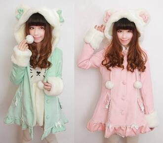 coat harajuku bluecoat blue babybluejacket cute girly ulzzang kfashion jacket kawaii winter sweater pasteltumblr lovely tween teenagers pink mint green japanese llama bunny fluffy soft lolita cat ears hoodie pom poms pastel mint green skirt hoodie coat