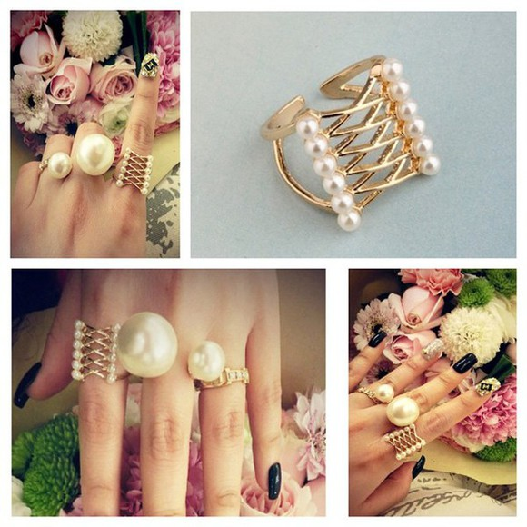pearls jewels jewelry jewellery ring statement ring budget affordable bijoux