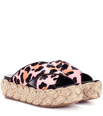 hair sandals platform sandals pink shoes