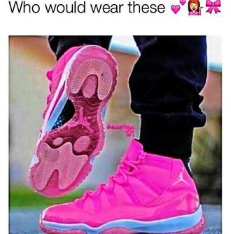 shoes pink jordans 11s cute swag