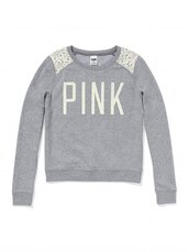 sweater,victoria's secret,sweatshirt,pink by victorias secret,grey sweater