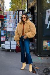 shoes,tumblr,nude boots,ankle boots,denim,jeans,blue jeans,kick flare,jacket,fur jacket,faux fur jacket,sunglasses