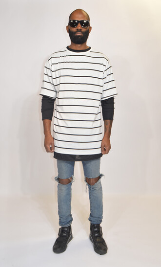 stripes black style t-shirt white streetwear streetstyle short sleeve hipster bullsofsummer urban clothing street goth ninja goth distressed jeans layering menswear mens t-shirt high fashion trends