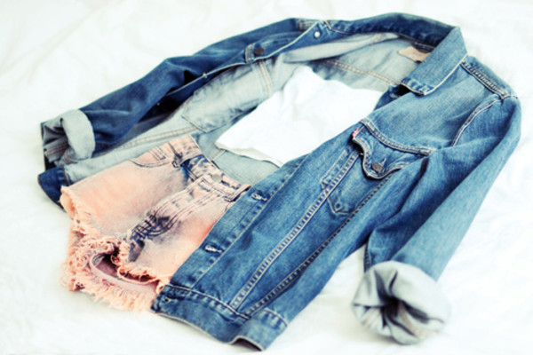shorts fashion style peach shorts peach top white jacket denim jacket tank top clothes brands t-shirt blue jean jacket