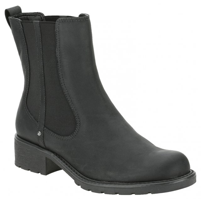 Clarks Orinoco Club Black Leather Elasticated Pull on Ladies Short Boot | eBay
