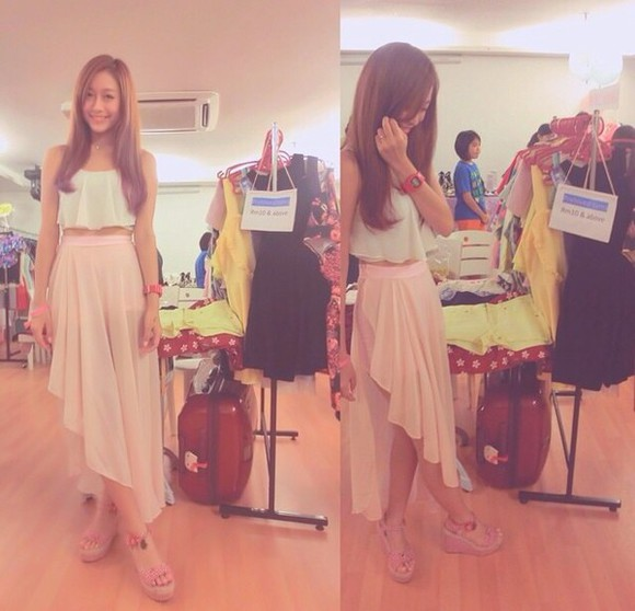 romantic skirt pink skirt maxi skirt sweet macaroon colour pink skirt and white top maxi skirt shirt