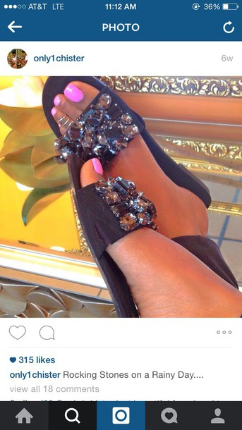 shoes sandals instagram black cute cute shoes sandals black sandals  rhinestones big rhinestones cute sandals black