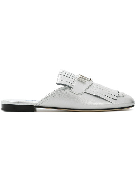 Prada women slippers leather grey metallic shoes