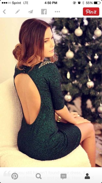 dress green dress bodycon dress open back dress