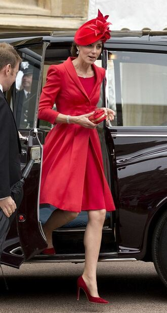 coat red dress red red coat kate middleton hat pumps all red outfit
