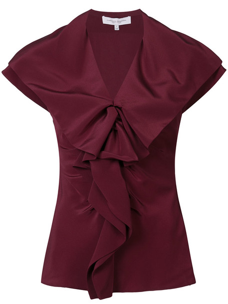 blouse ruffle women silk red top