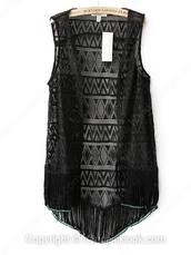 top,black lace top,bohemian top,boho chic,vest top,handpicklook.com,fringe kimono,fringed top