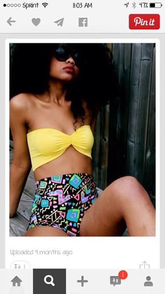 swimwear print yellow