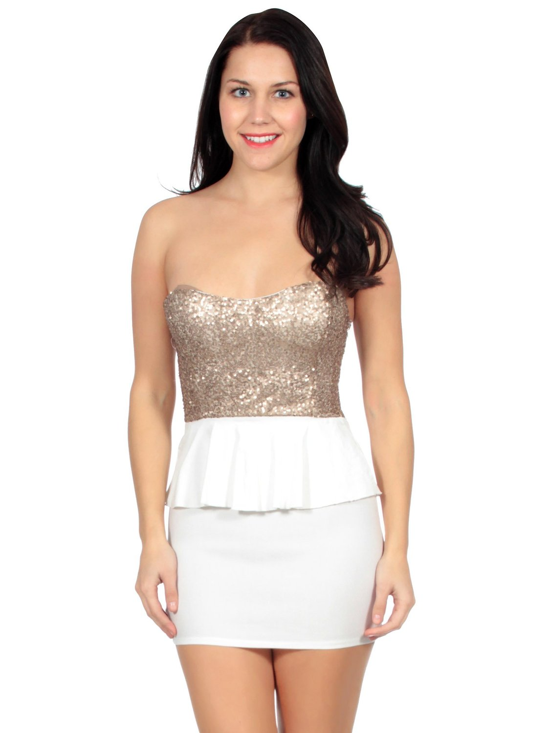 Simplicity Ultrachic Mini Dress w/ Peplum Skirt and Sequined Bustier, White at Amazon Women's Clothing store: