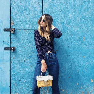 shirt polka dots navy raffia bag mini bag straight jeans jeans sunglasses bag shoes