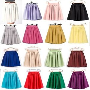 Women Ladies Girl High Waist Pleated Double Layered Sheer Short Chiffon Skirts | eBay