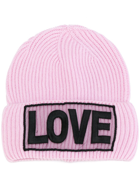 love beanie purple pink hat
