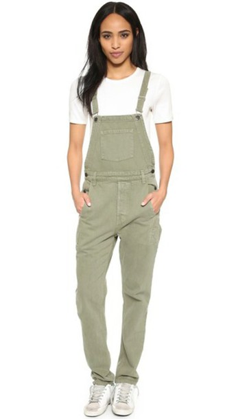 Ksubi Loose Fit Overalls - Army Green