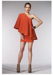 orange dress,one shoulder dress,dress