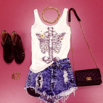 tank top flowers clothes rib cage jewels shorts