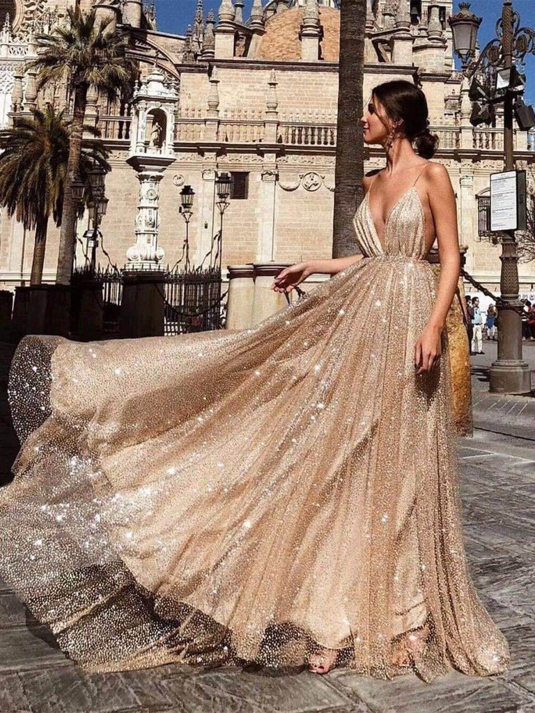 Sexy A Line V Neck Backless Lace Prom Dresses, A Line V Neck Formal Dresses