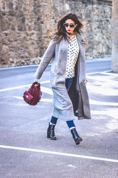 shoes and basics blogger shirt sunglasses bucket bag long coat black booties