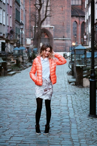 lilissss blogger down jacket orange draped floral skirt skirt blouse jacket shoes
