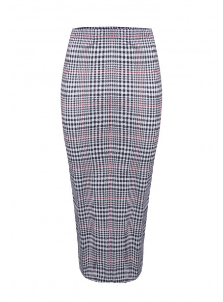 Black And Red Dogtooth Pencil Skirt