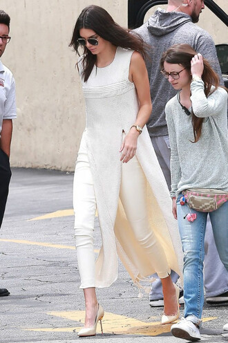 top dress pants pumps kendall jenner beige tunic shoes