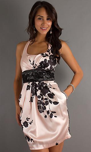 Print Halter Cocktail Dress, Halter Top Homecoming Dress PromGirl