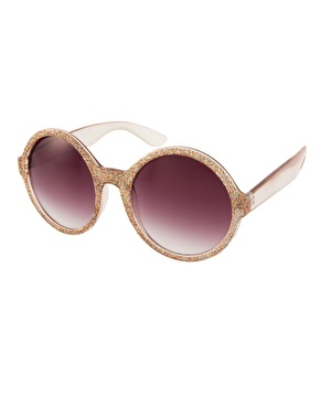 Asos glitter round sunglasses at asos