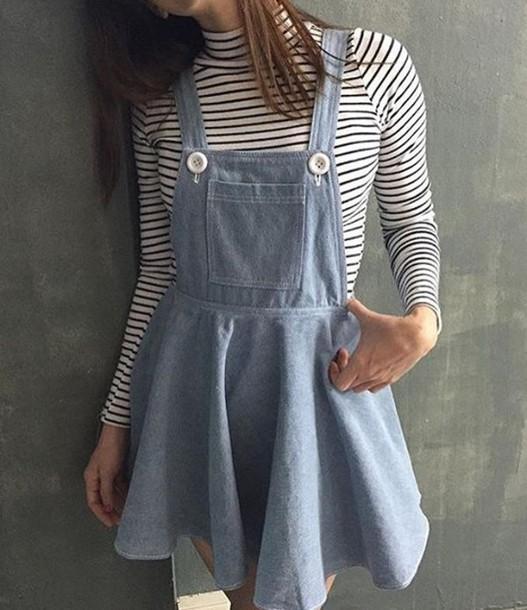 Dress black and white denim jacket denim overalls denim skirt stripes striped top tumblr ...