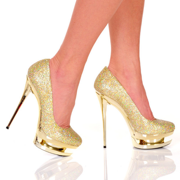 Shoes: high heels, the highest heel, pumps gold, platform high ...