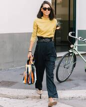 pants,black pants,high waisted pants,wide-leg pants,yellow sweater,fluffy,handbag,sunglasses,ballet flats