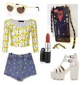 phone cover,look,outfit,outfit idea,lookbook,pikachu,moschino,sunglasses,top,shoes,shorts