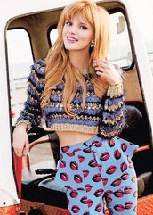 pants,bella thorne,sweater,blouse,jeans