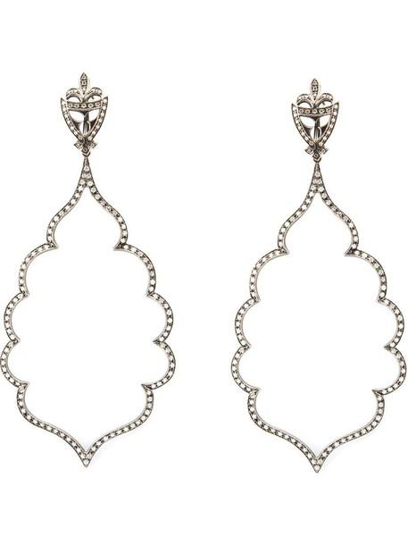 Loree Rodkin women earrings gold white grey jewels