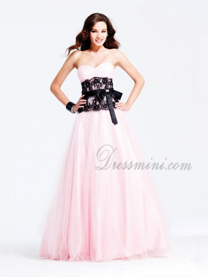93d55a967ad0f Pink Long/Floor-length Sashes/Ribbons Light Prom Dress With Lace PD093E at  Dressmini.com