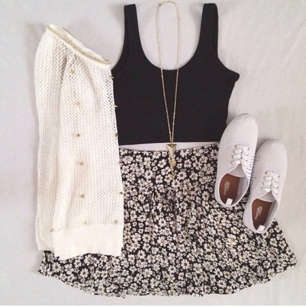 tank top skirt sweater floral skirt white sweater black tank top necklace cute fashion daisy tank top top studs keds blouse summer outfits white cardigan white shoes cardigan black tank crop top creme sweater gold necklace