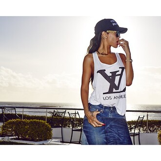 shirt tank top rihanna lv louis vuitton