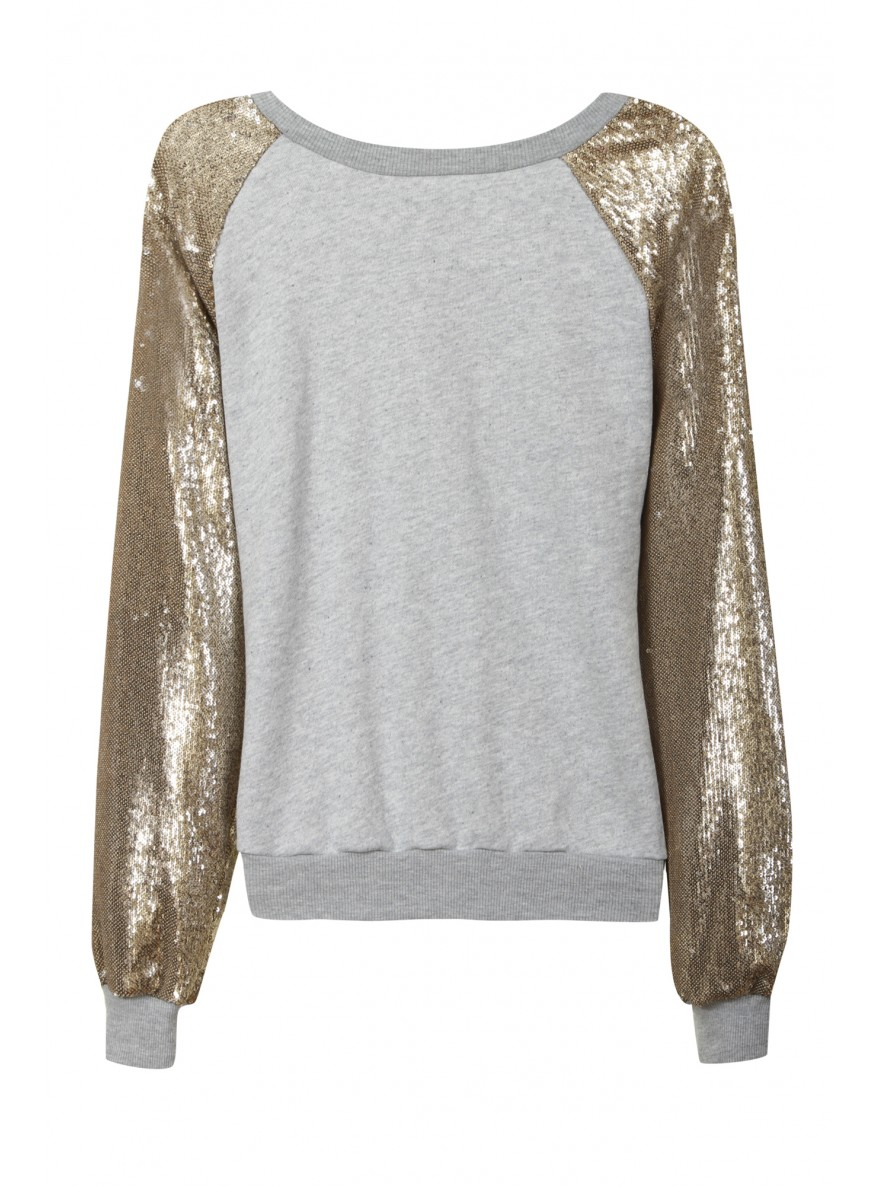 Grey Marl Sweater With Contrast Sequin Sleeves