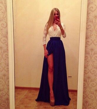 dress navy lace blue long sleeves maxi dress slit skirt white fashion beautifulhalo