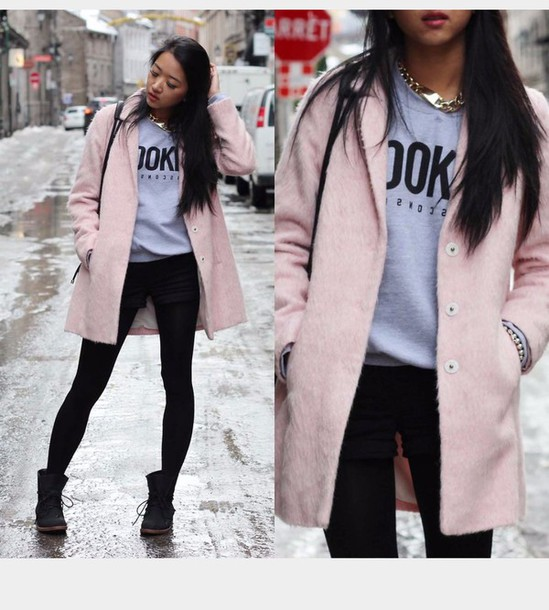 Coat: pink, rose, light pink, winter coat, zara, fashionista, long ...