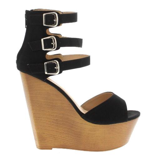 Shelby black nude peach open toe strappy buckle wedge heels