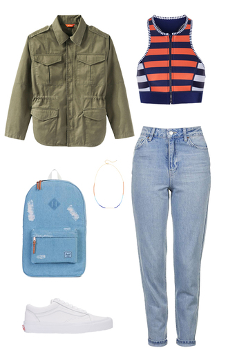 jacket khaki army green army green jacket striped top backpack outfit idea back to school denim backpack school bag white sneakers mom jeans choker necklace top jeans shoes jewels bag