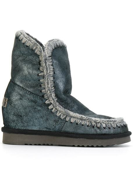 Mou women ankle boots leather blue shoes