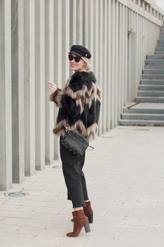 macarenagea blogger coat sweater jeans bag shoes hat sunglasses fur jacket faux fur jacket fisherman cap ankle boots