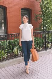 thecollegeprepster,blogger,blouse,jeans,jewels,bag,summer outfits,skinny jeans,tote bag,fall outfits,white t-shirt
