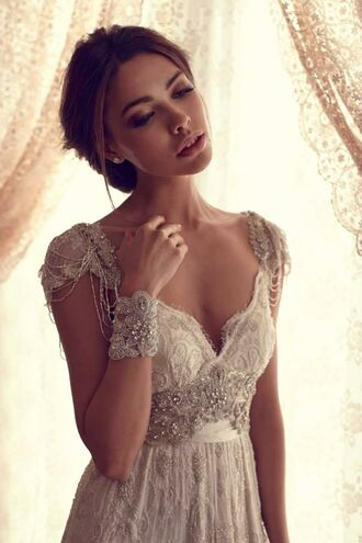 dress clothes lace wedding clothes beaded champagne vintage the great gatsby vow renewal special occasion hipster wedding wedding clothes wedding dress prom dress beautiful white white dress beaded long dress beautiful ball gowns perfect beauty colour lace dress jewels long prom dress cream prom dress embroidered